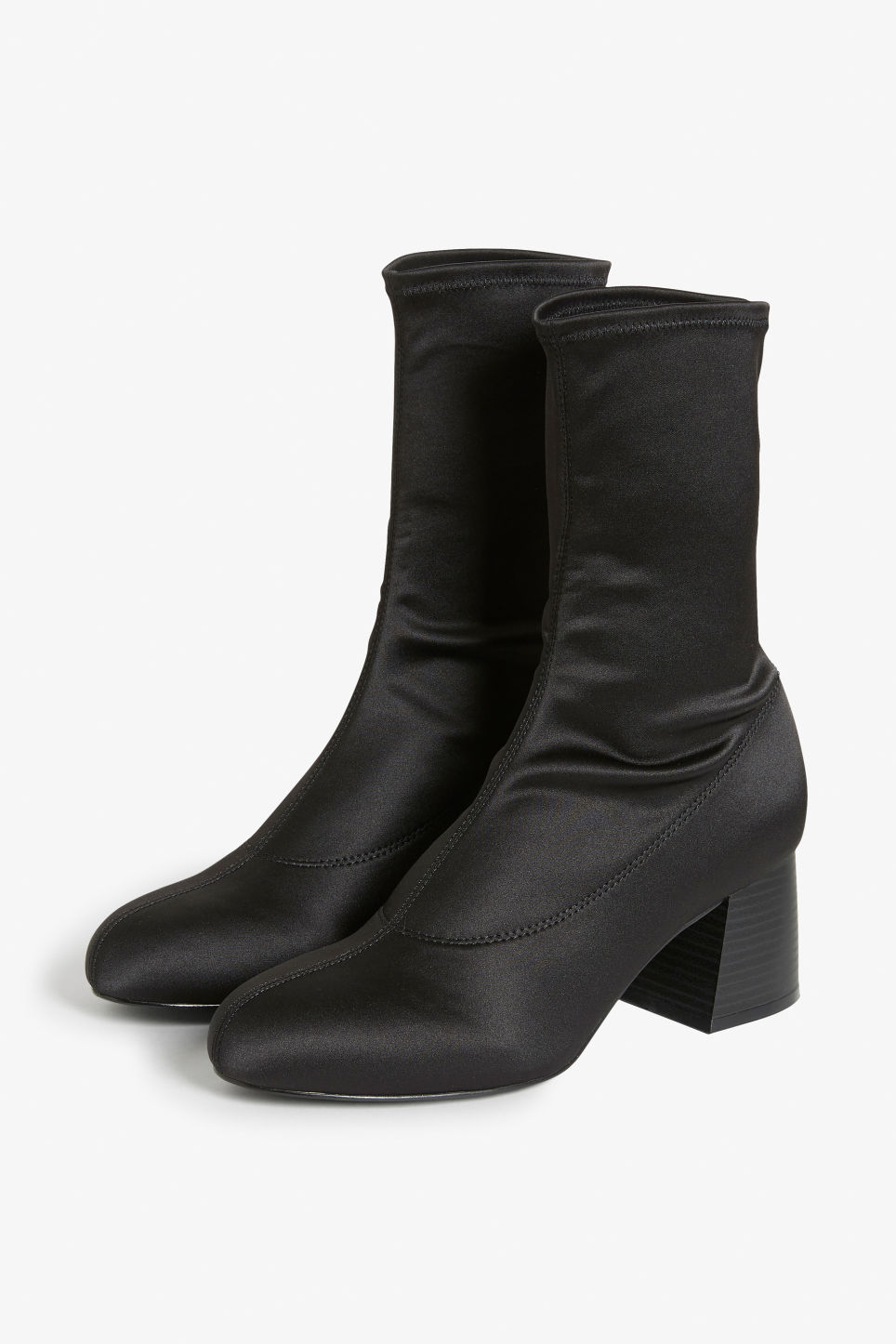 Front image of Monki stretch ankle boots in black