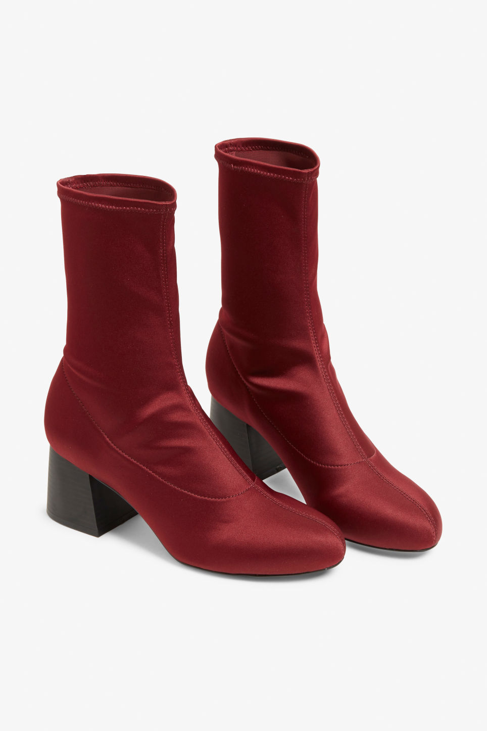 Front image of Monki stretch ankle boots in red
