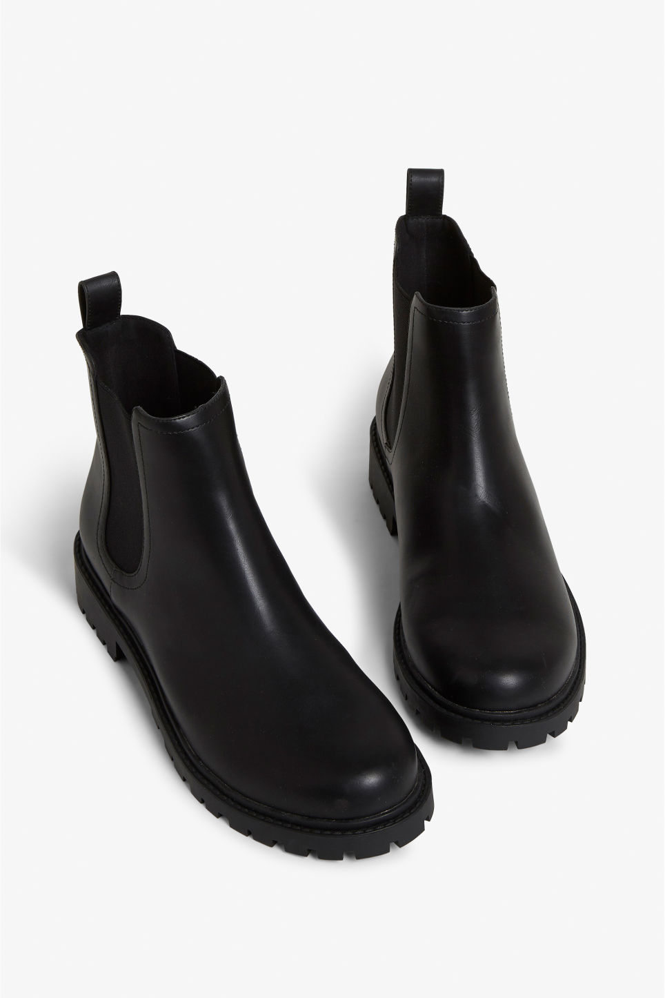 Front image of Monki chunky chelsea boots in black