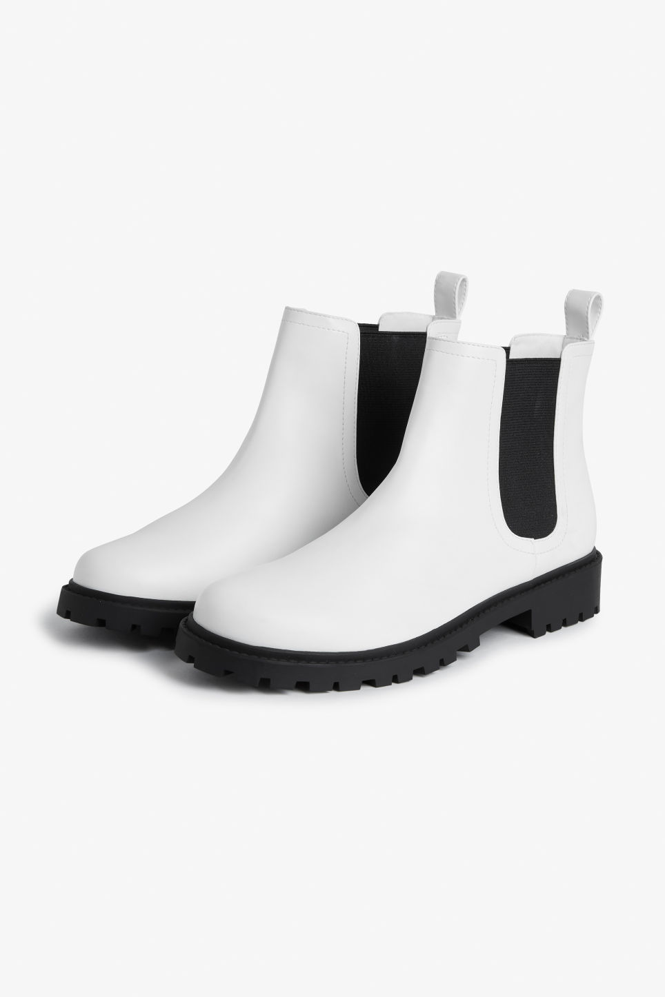 Front image of Monki chunky chelsea boots in white