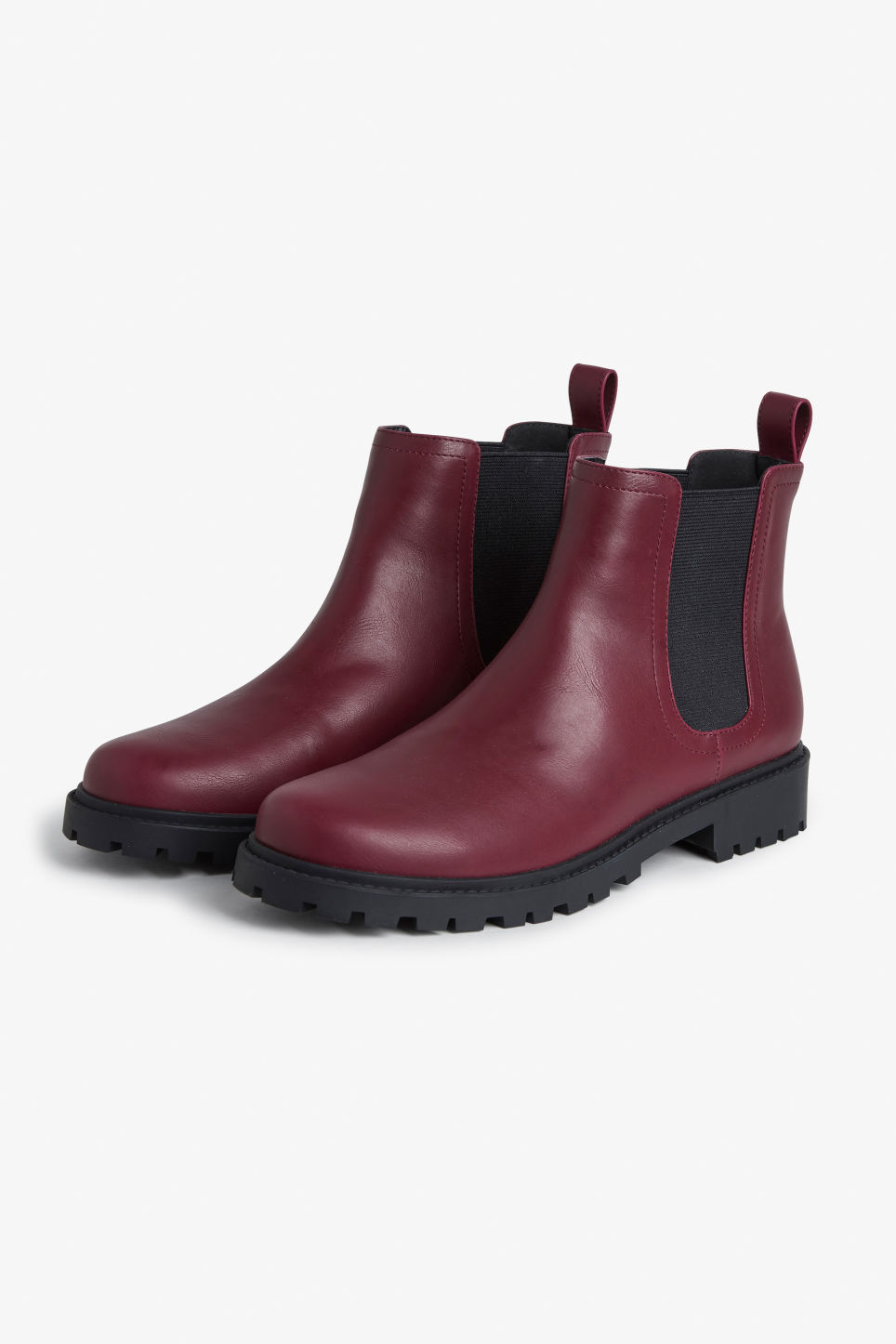 Front image of Monki chunky chelsea boots in red