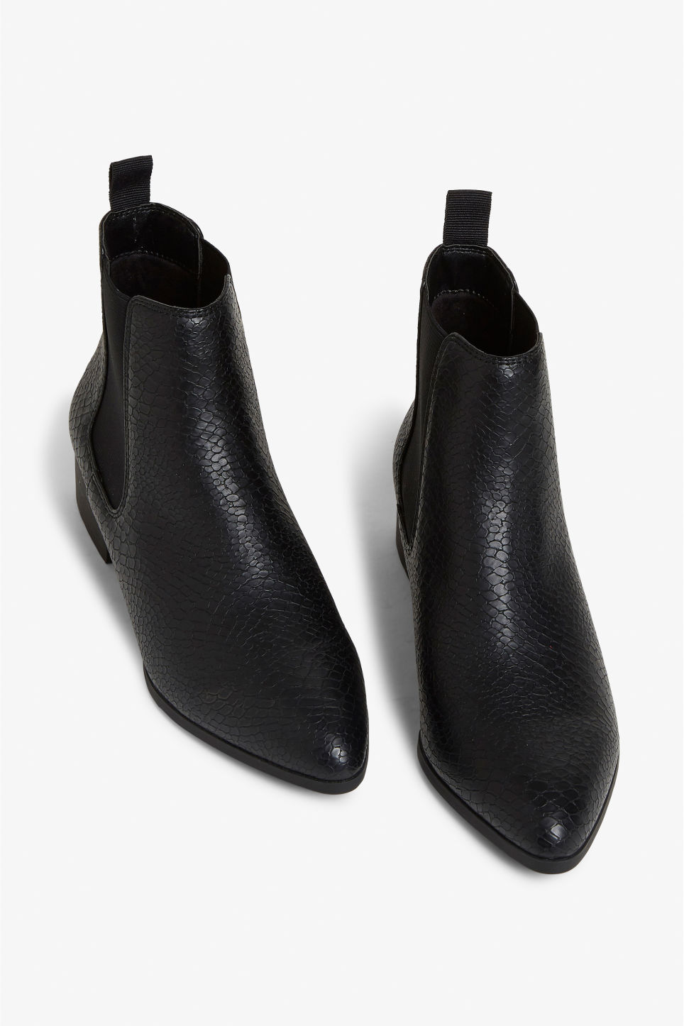 Front image of Monki chelsea ankle boots in black