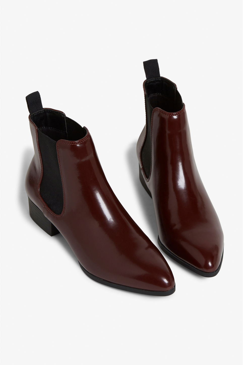 Front image of Monki chelsea ankle boots in red