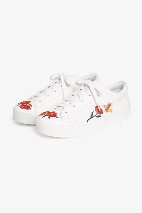 Front image of Monki lace-up sneakers in white
