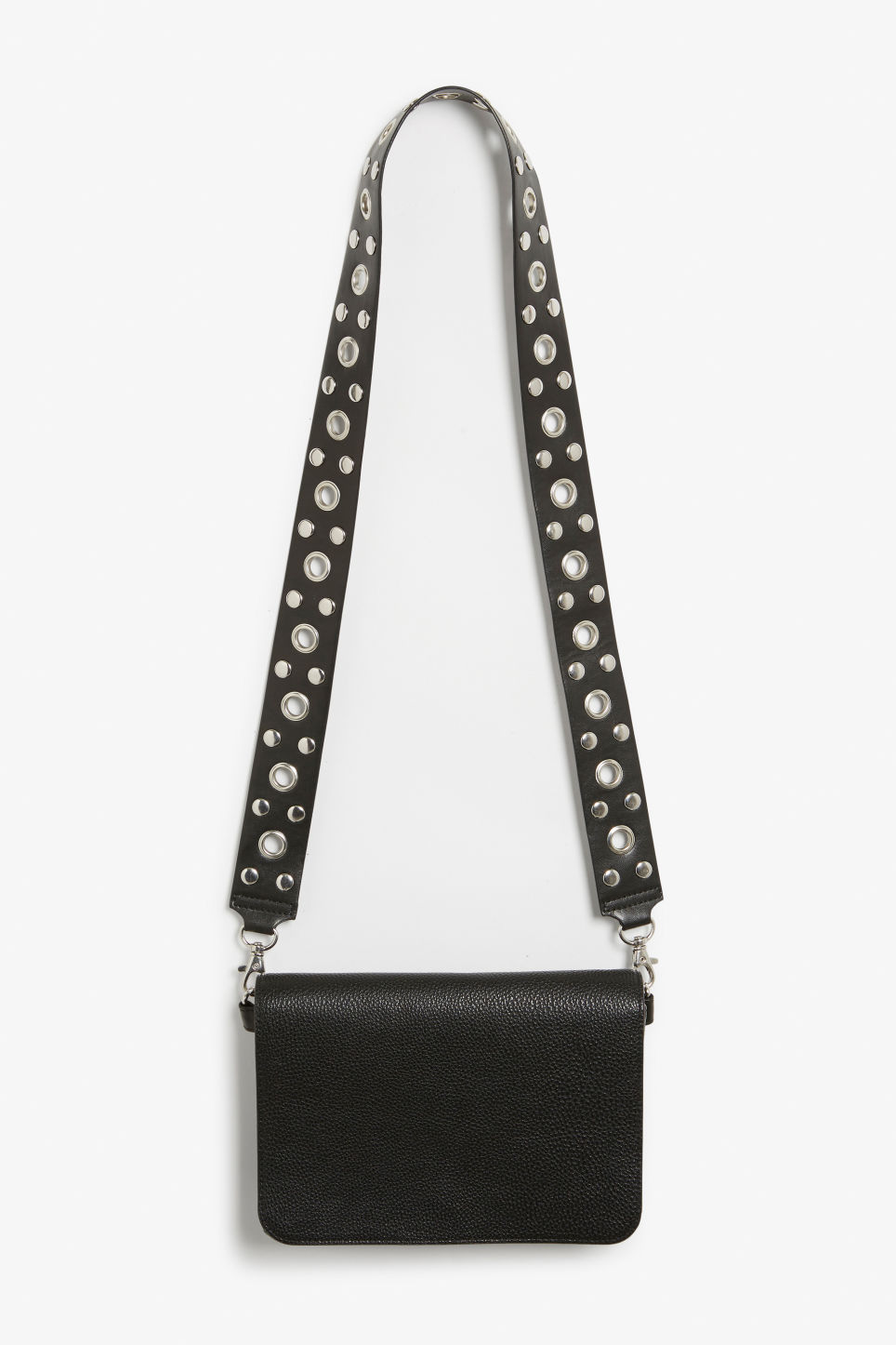 Front image of Monki cross shoulder bag in black