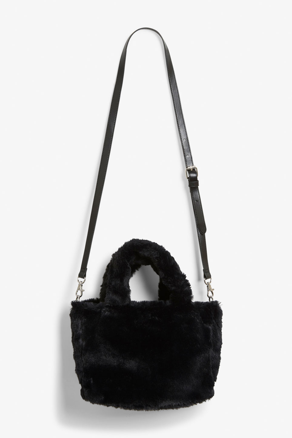 Front image of Monki faux fur cat bag in black