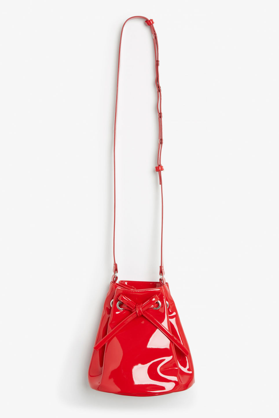Front image of Monki drawstring bucket bag in red