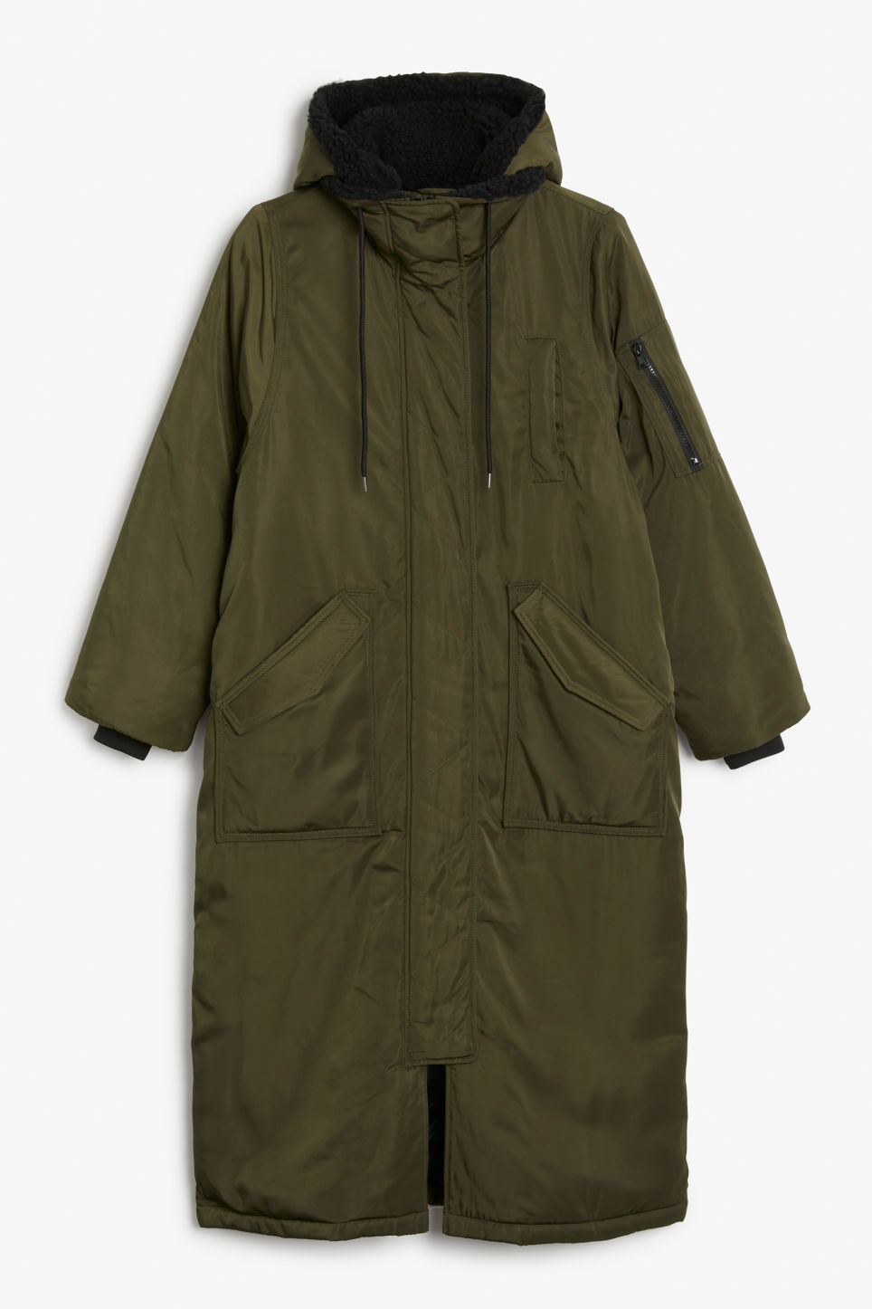 Front image of Monki oversized parka coat in green