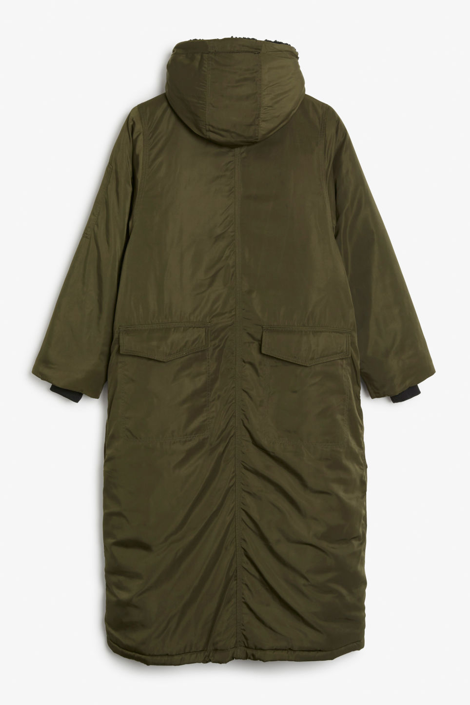Back image of Monki oversized parka coat in green