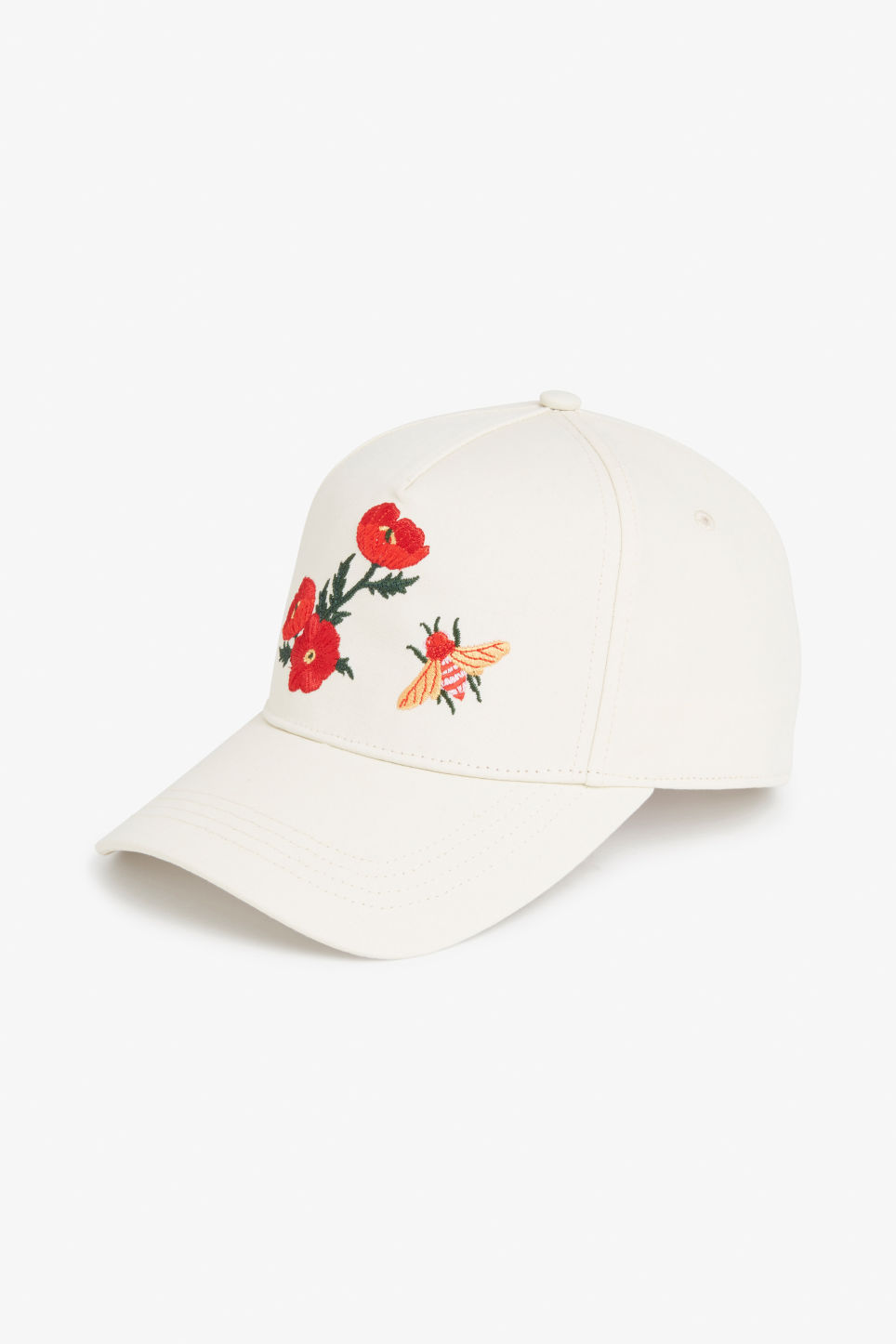 Front image of Monki baseball hat in white