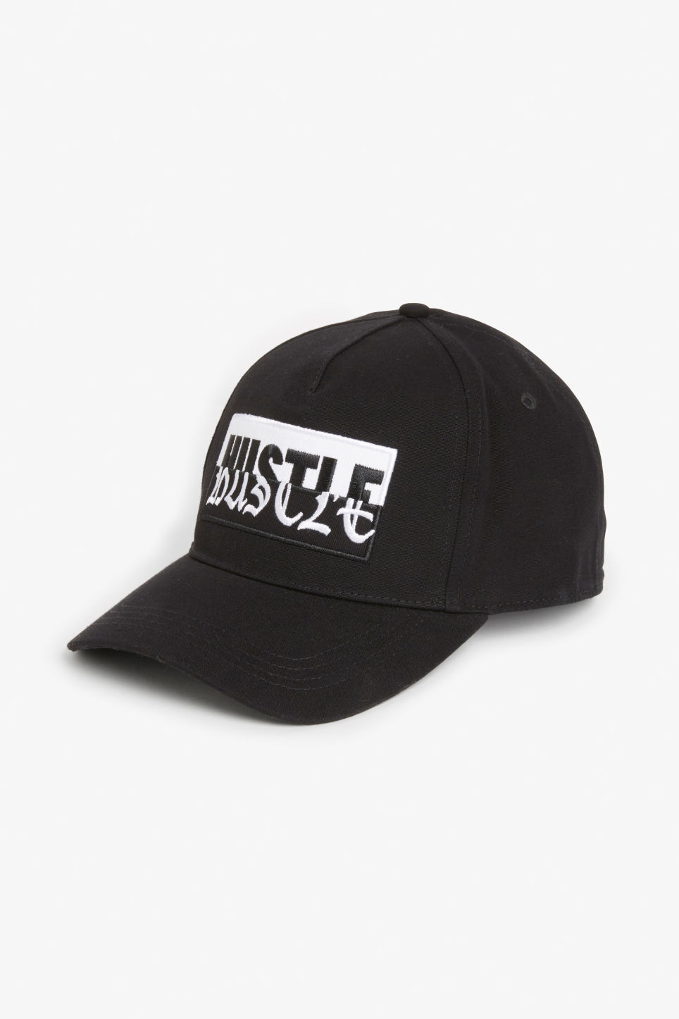 Front image of Monki baseball hat in black