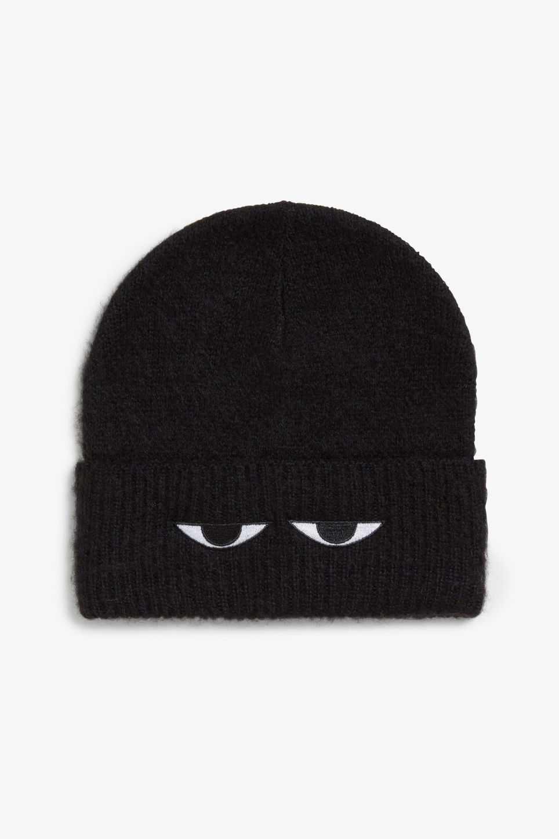 Front image of Monki peek-a-boo beanie in black 60ba94a1e7c0
