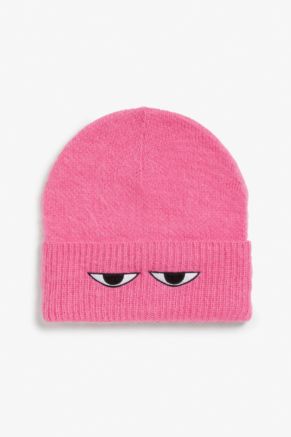 Front image of Monki peek-a-boo beanie in pink