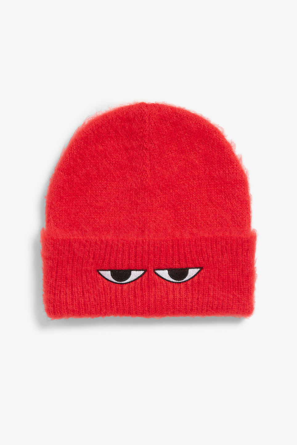 Front image of Monki peek-a-boo beanie in red