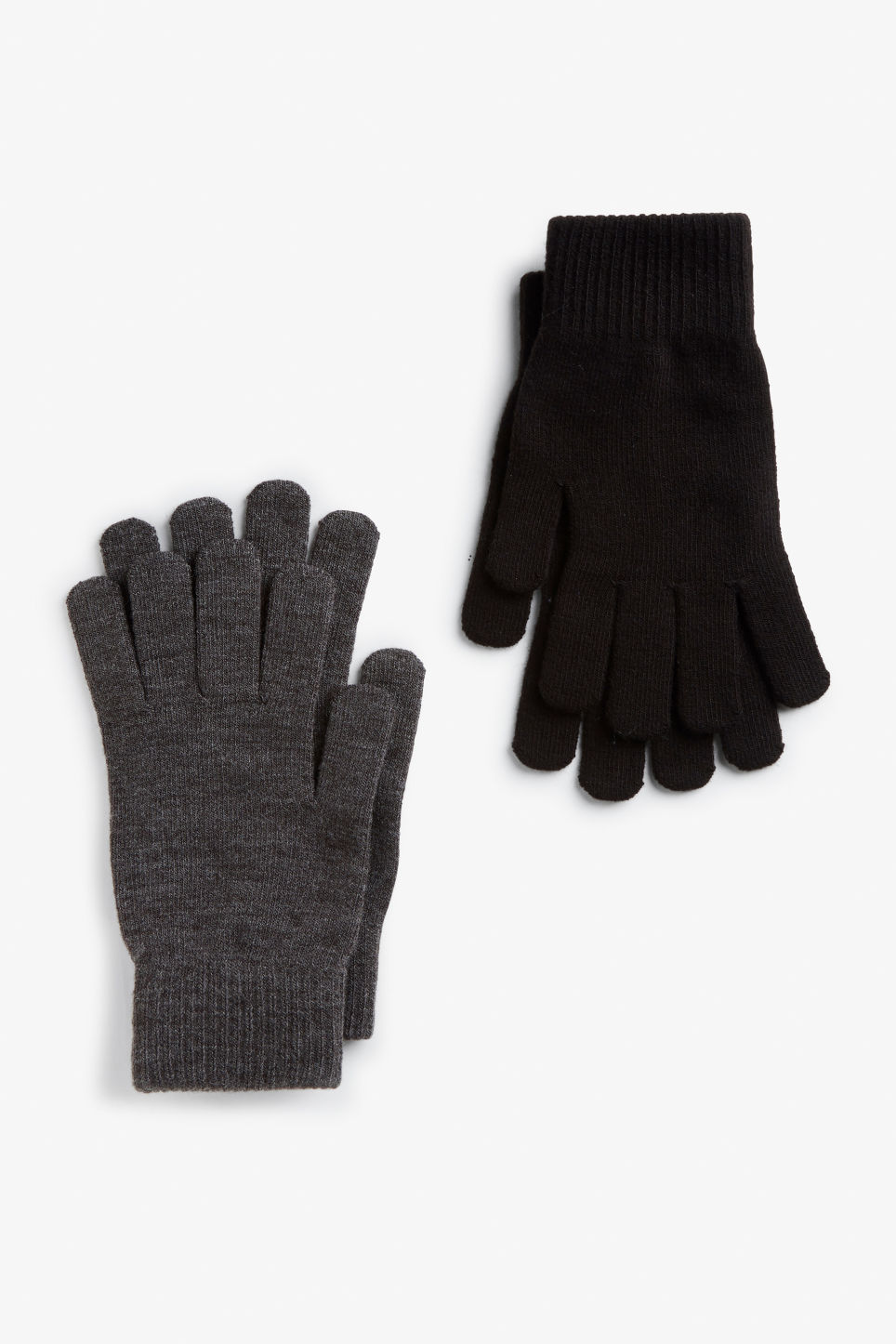 Front image of Monki two-pack of knitted gloves in black