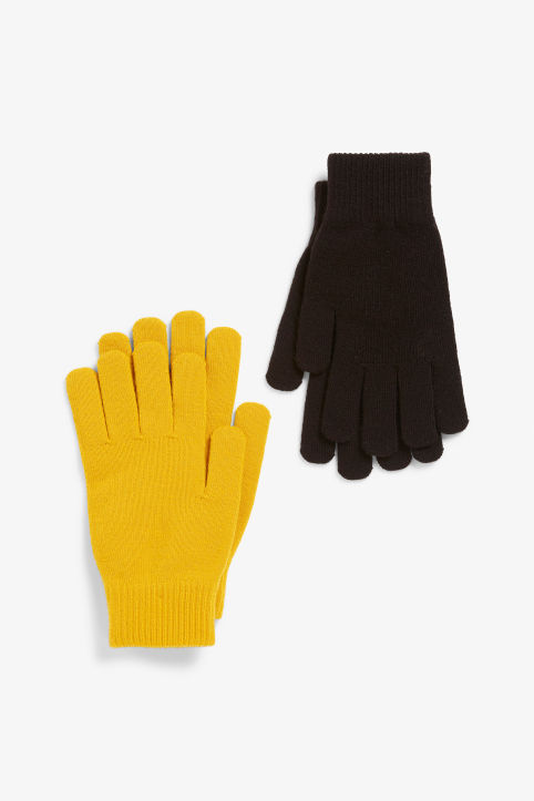 Front image of Monki two-pack of knitted gloves in yellow