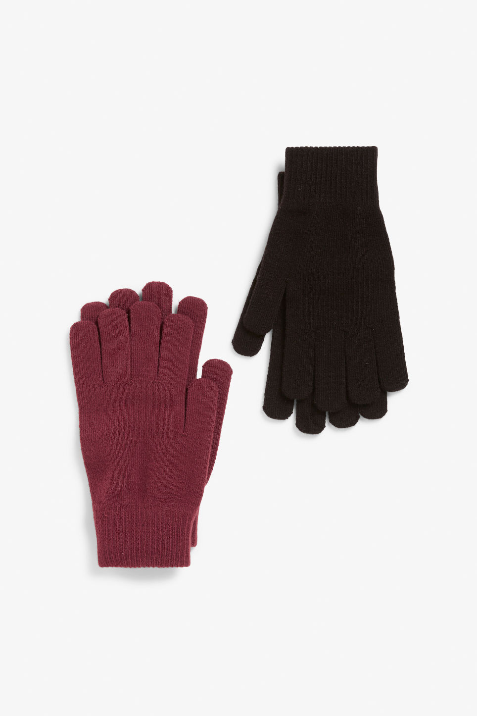 Front image of Monki two-pack of knitted gloves in red