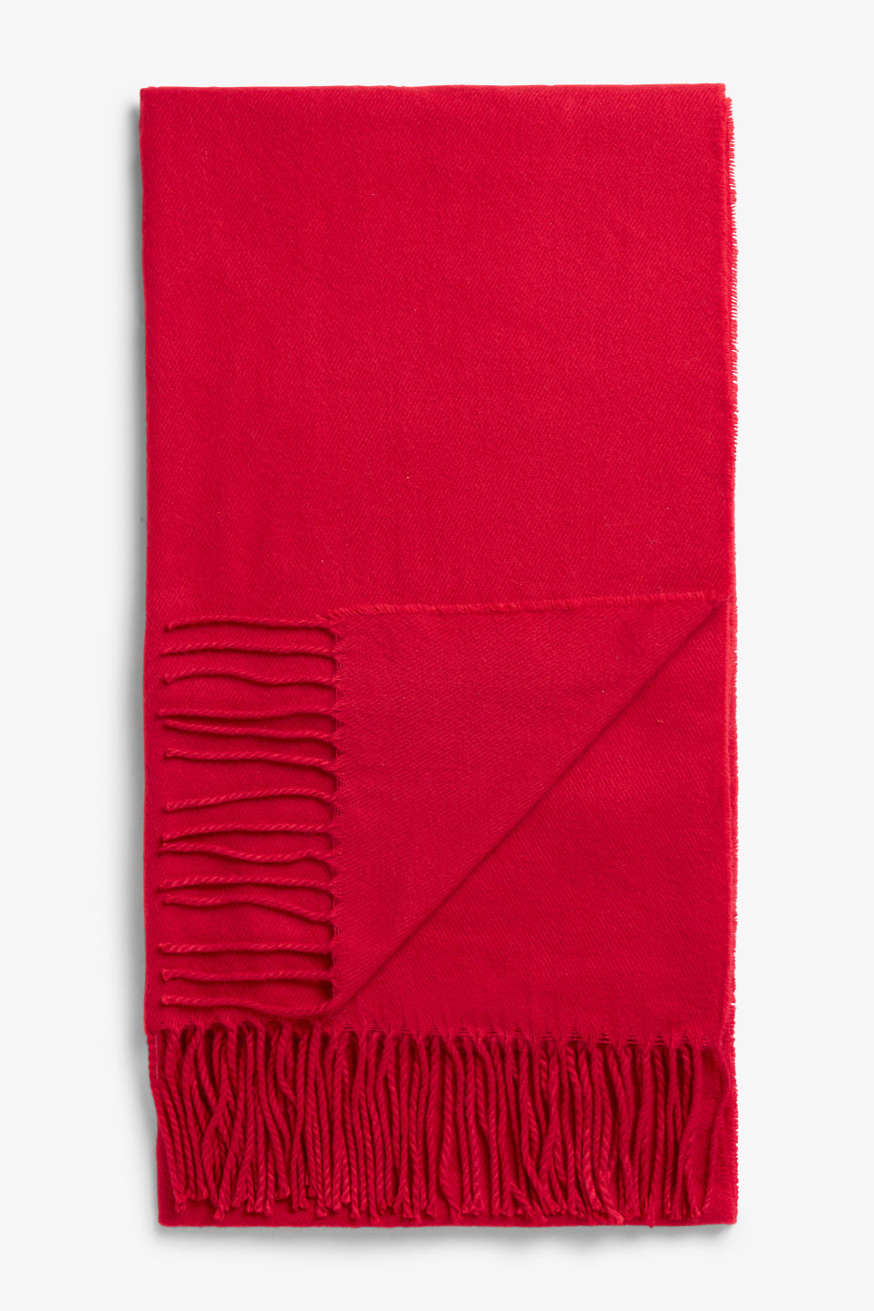 Front image of Monki cosy scarf in red