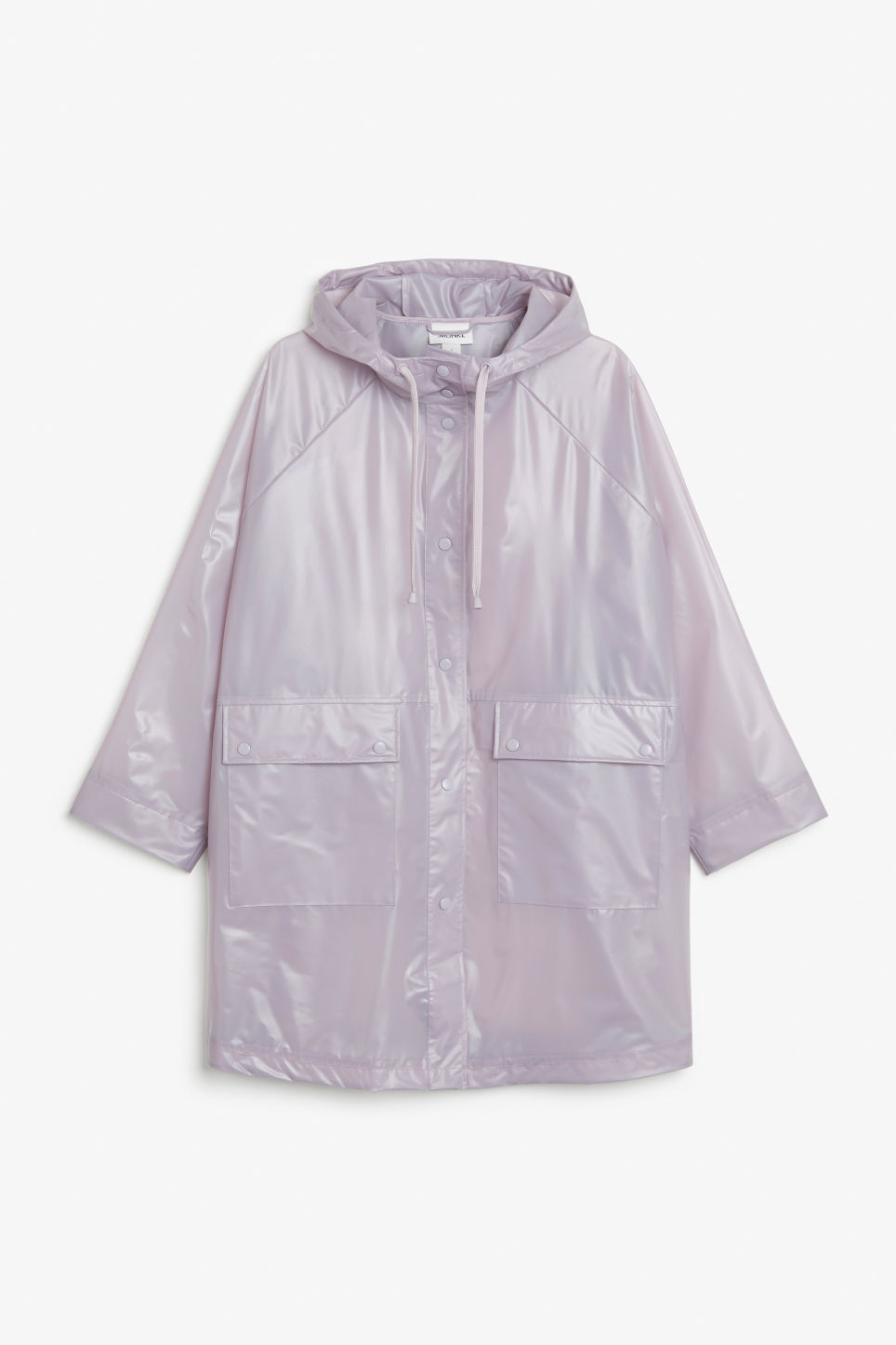 Front image of Monki hooded raincoat in purple