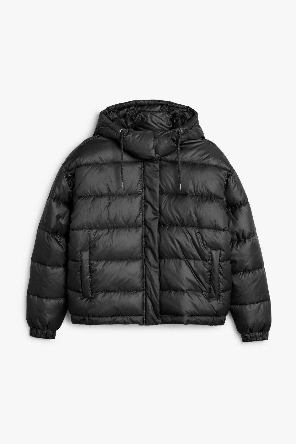 Front image of Monki hooded puffer jacket in black