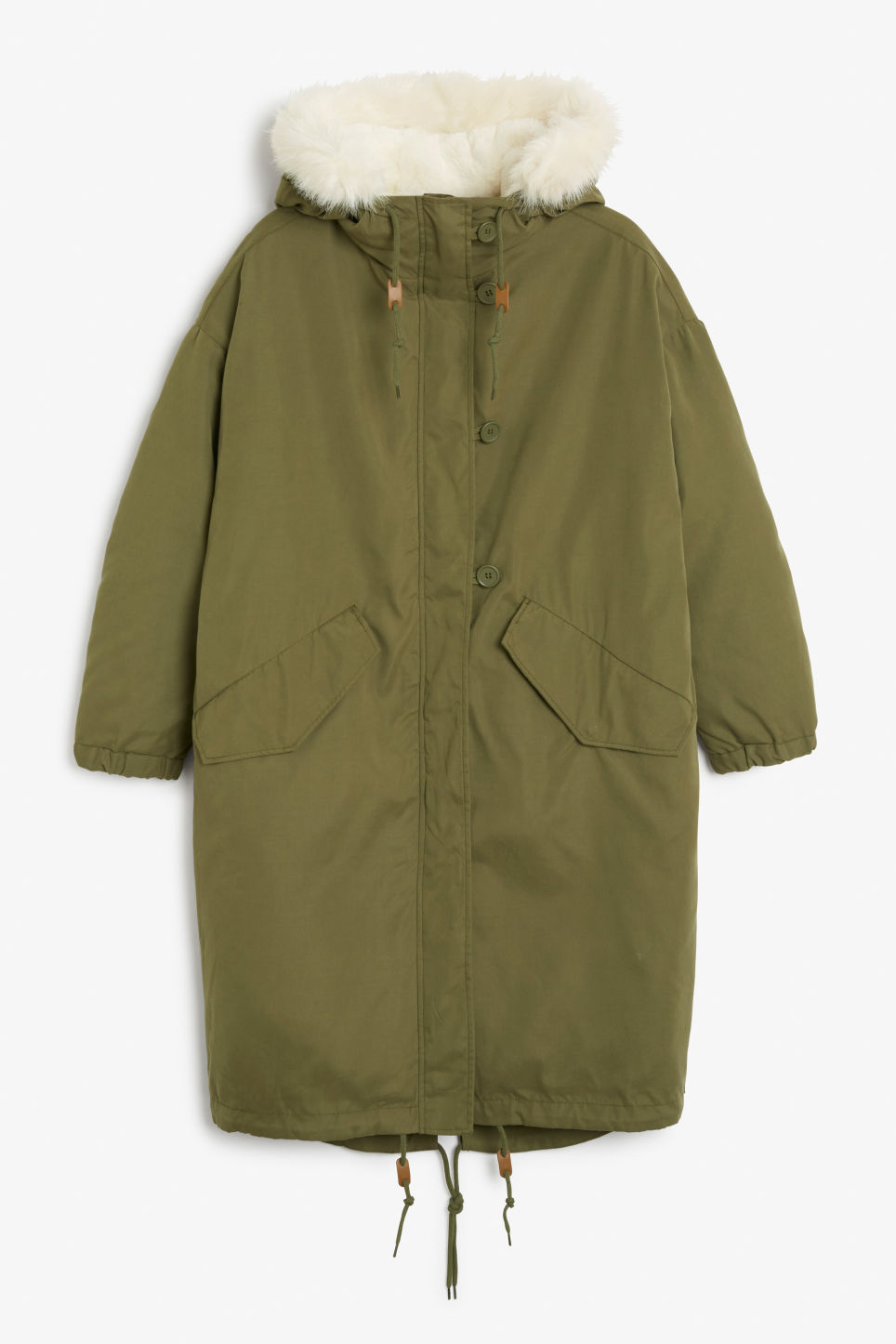 Front image of Monki hooded coat with detachable lining in green