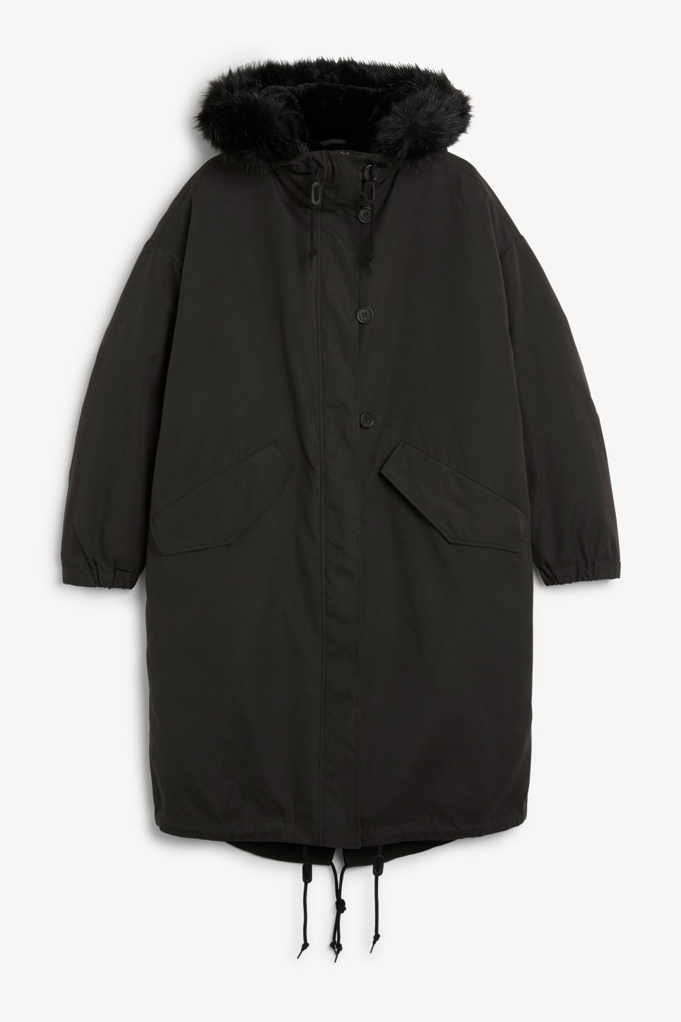 Front image of Monki hooded coat with detachable lining in black