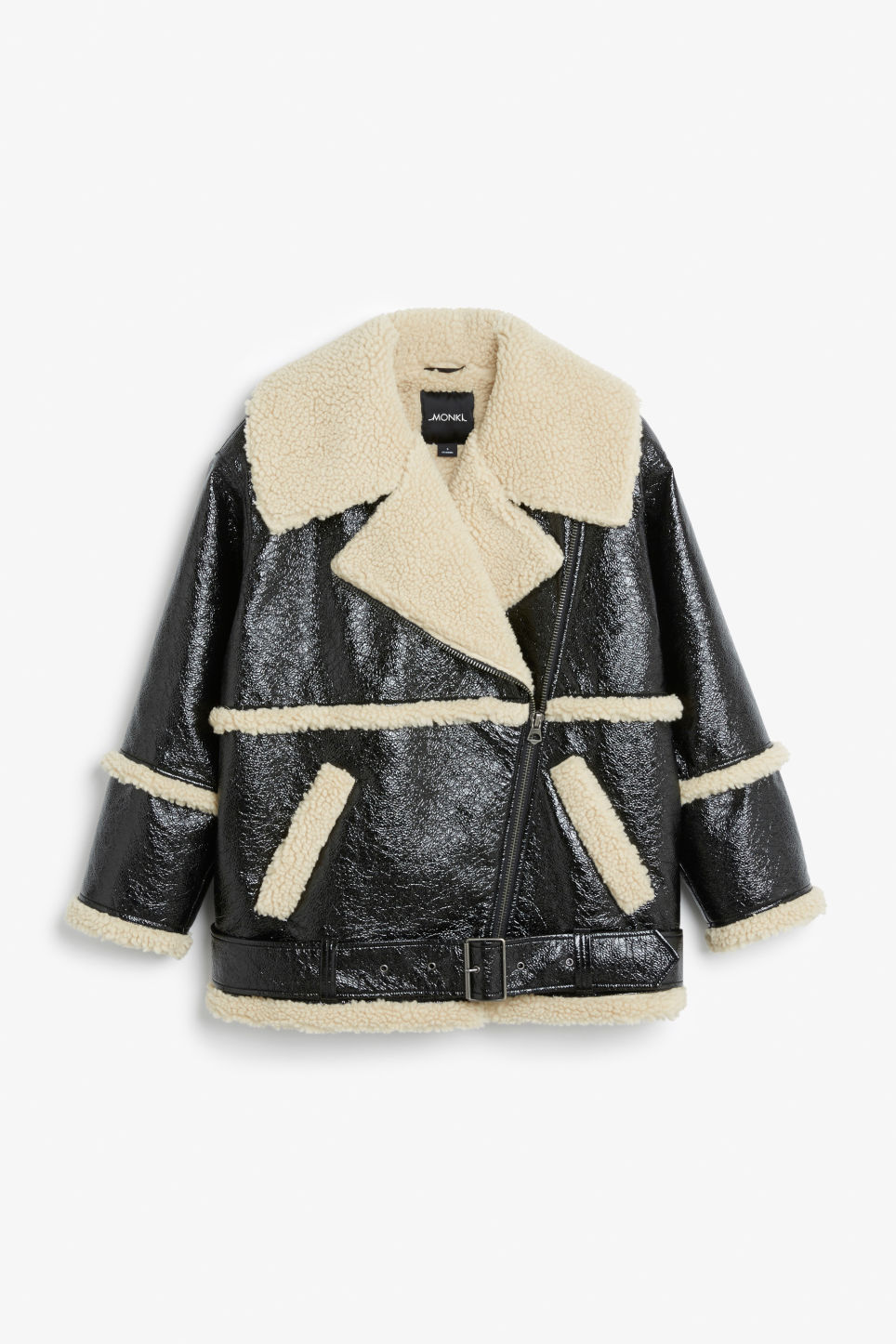 Front image of Monki statement aviator jacket in black