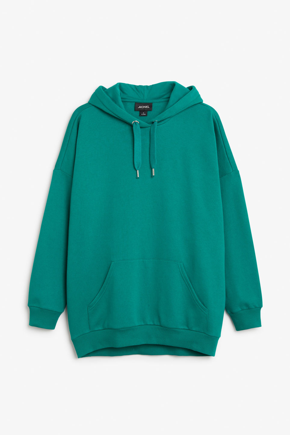 Front image of Monki oversized hoodie in turquoise
