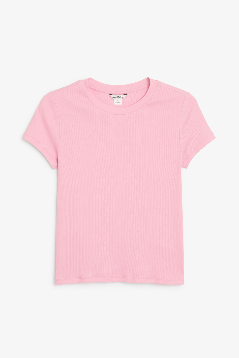 Front image of Monki ribbed tee in pink