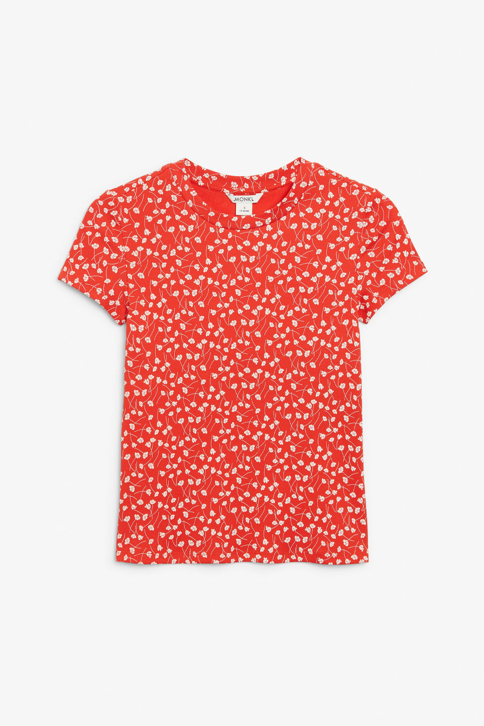Front image of Monki ribbed tee in red