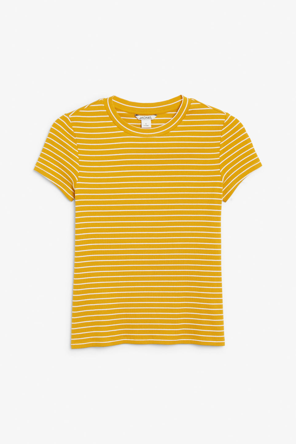 Front image of Monki ribbed tee in yellow
