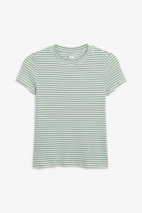 Front image of Monki ribbed tee in green