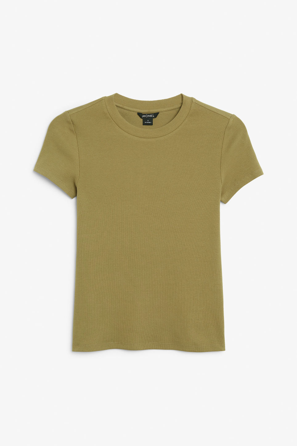 Front image of Monki ribbed tee in beige