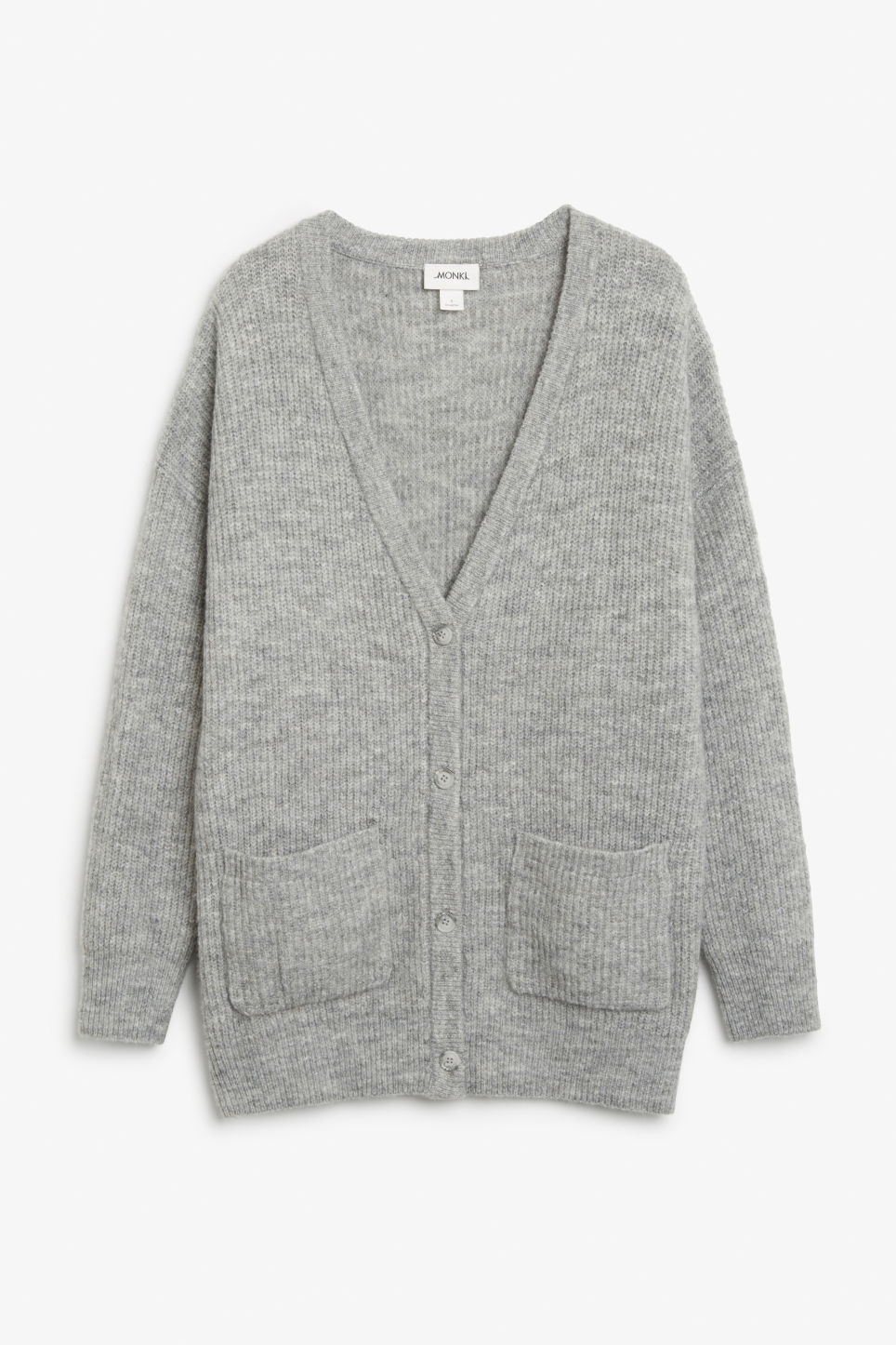 Front image of Monki oversize cardigan in grey