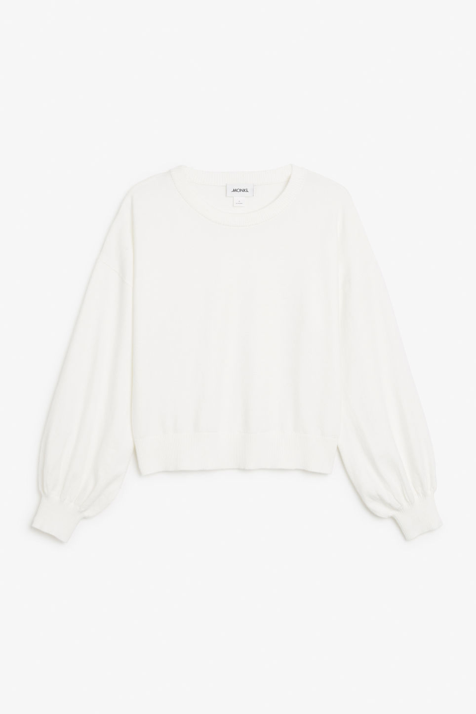 Front image of Monki balloon sleeve sweater in white