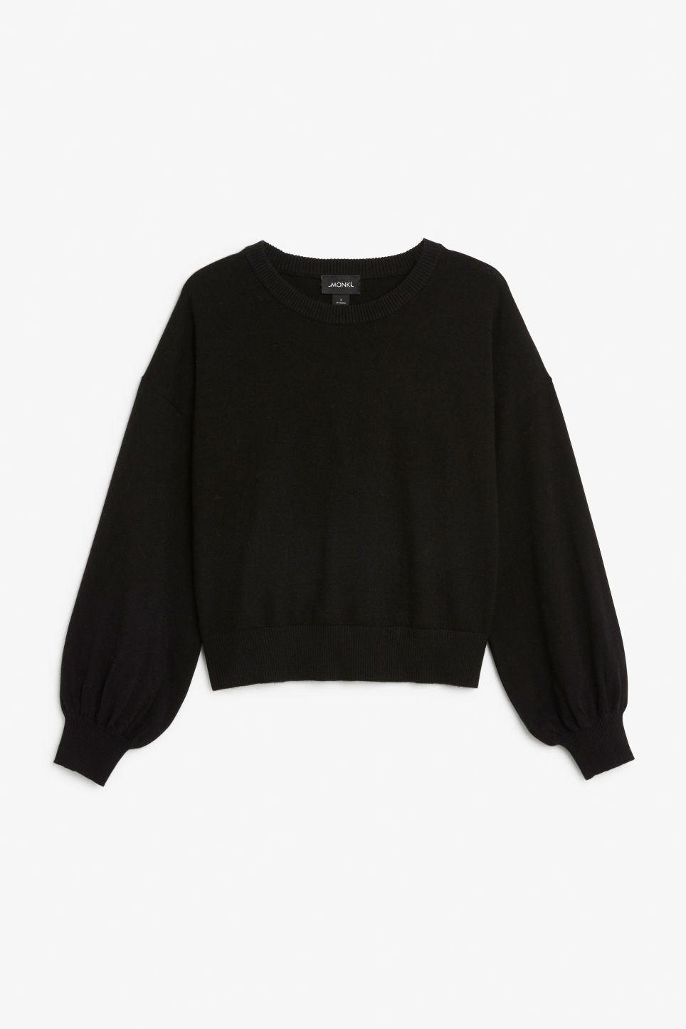 Front image of Monki balloon sleeve sweater in black
