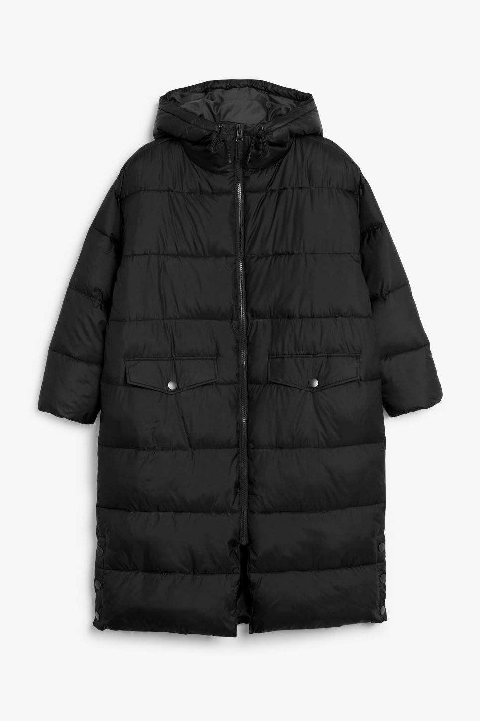 Front image of Monki oversized puffer coat in black