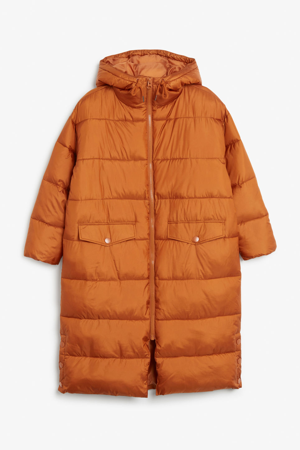 Front image of Monki oversized puffer coat in orange