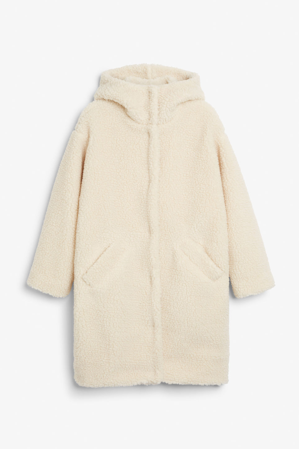 Front image of Monki faux shearling coat in white