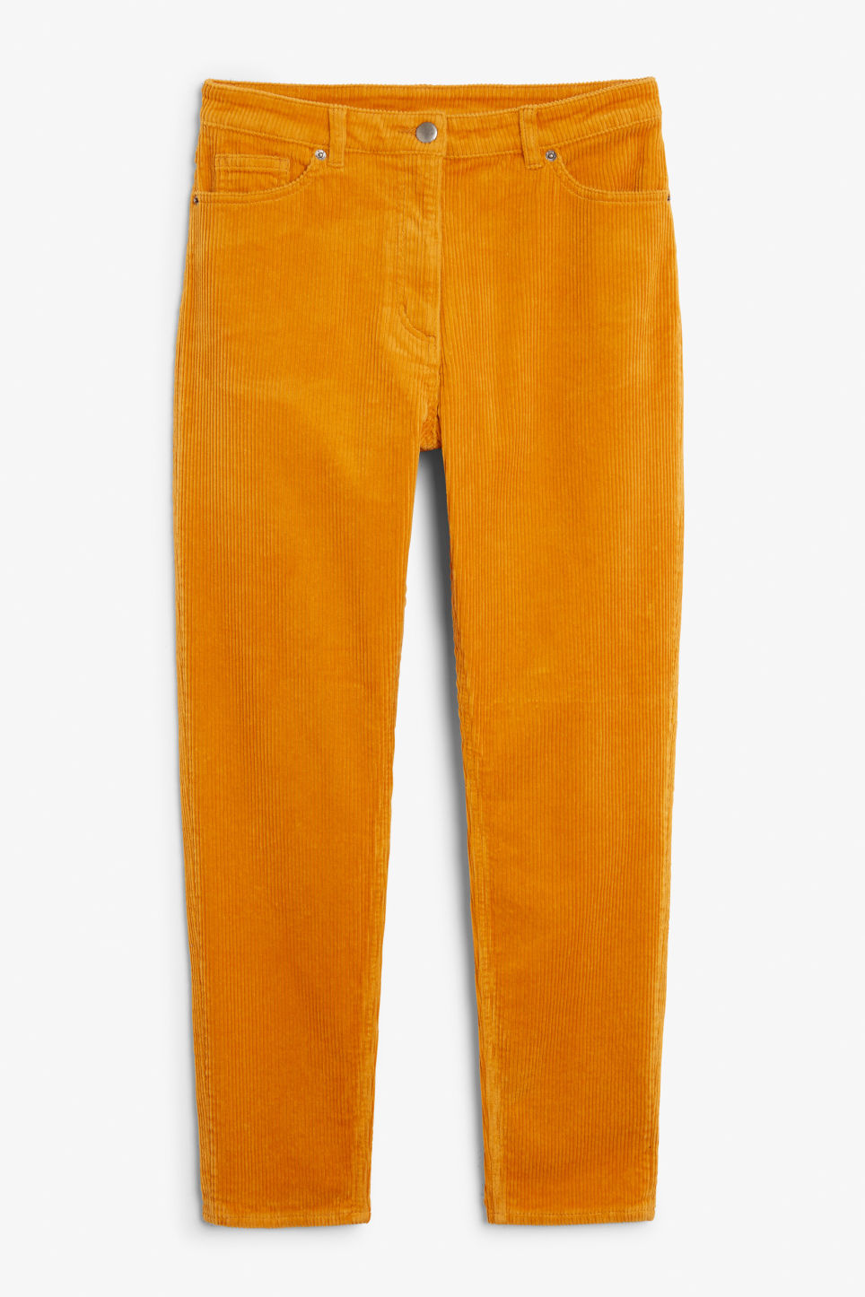 Front image of Monki corduroy  trousers in yellow