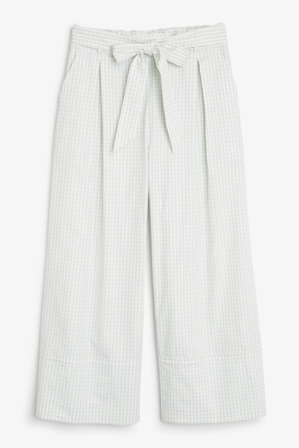 Front image of Monki culottes with paper bag waist in green
