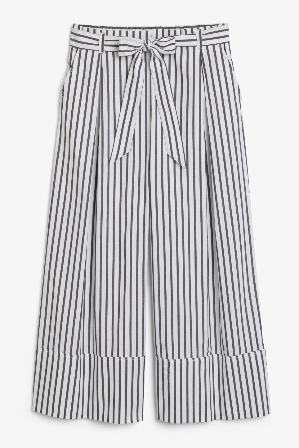Front image of Monki culottes with paper bag waist in black