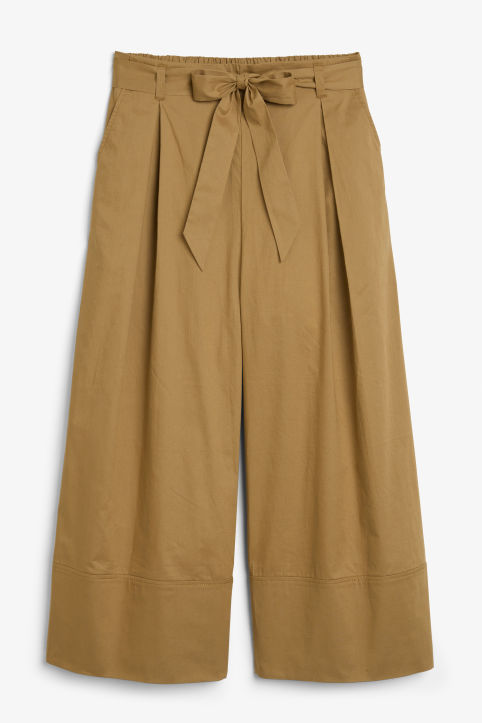 Front image of Monki culottes with paper bag waist in beige