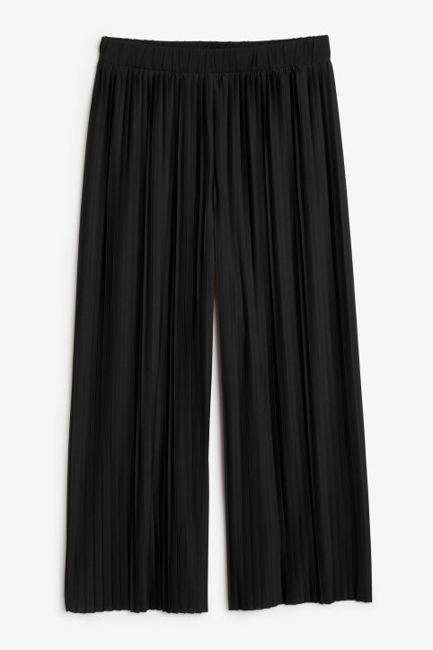 Front image of Monki wide leg pleated trousers in black