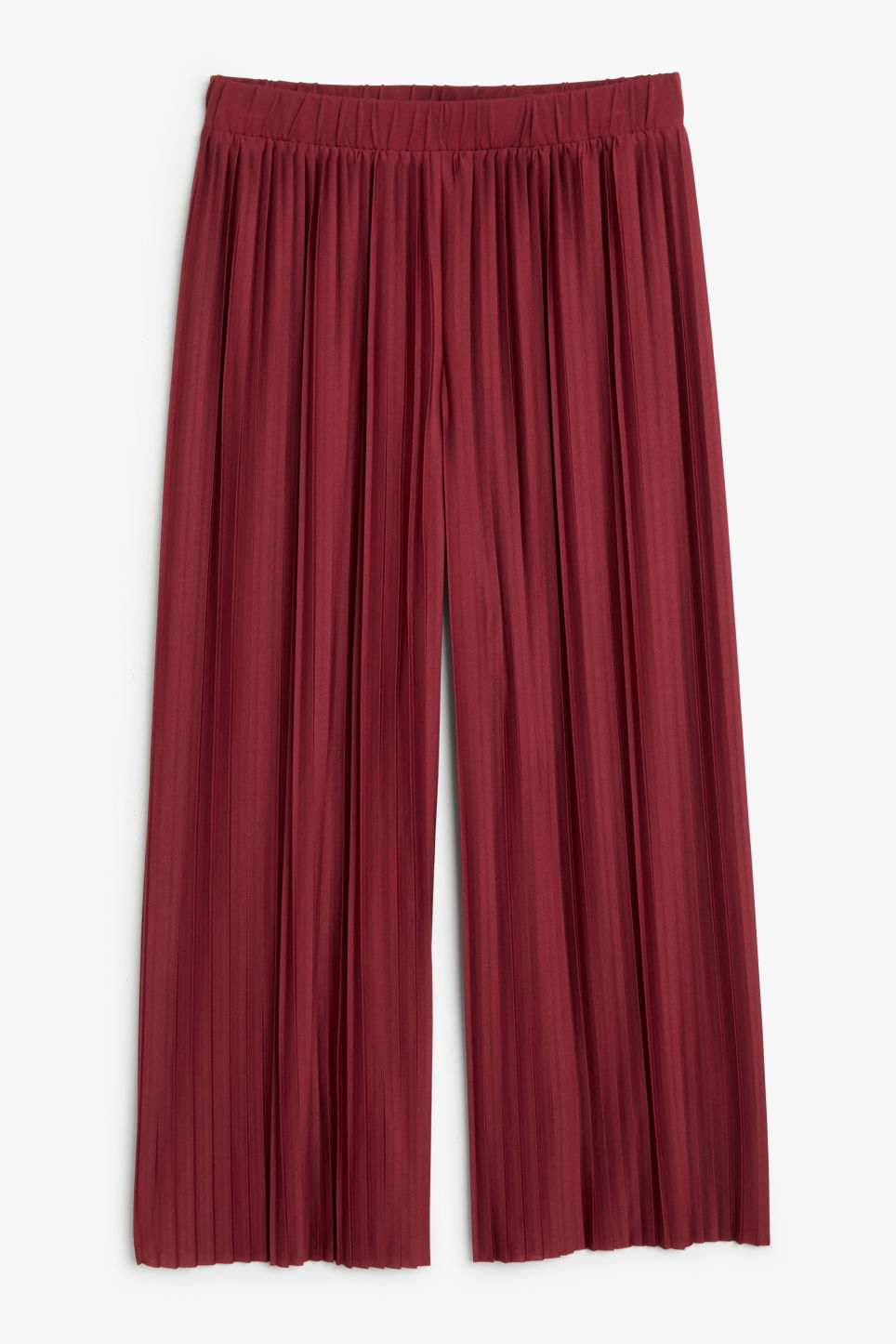 Front image of Monki wide leg pleated trousers in red