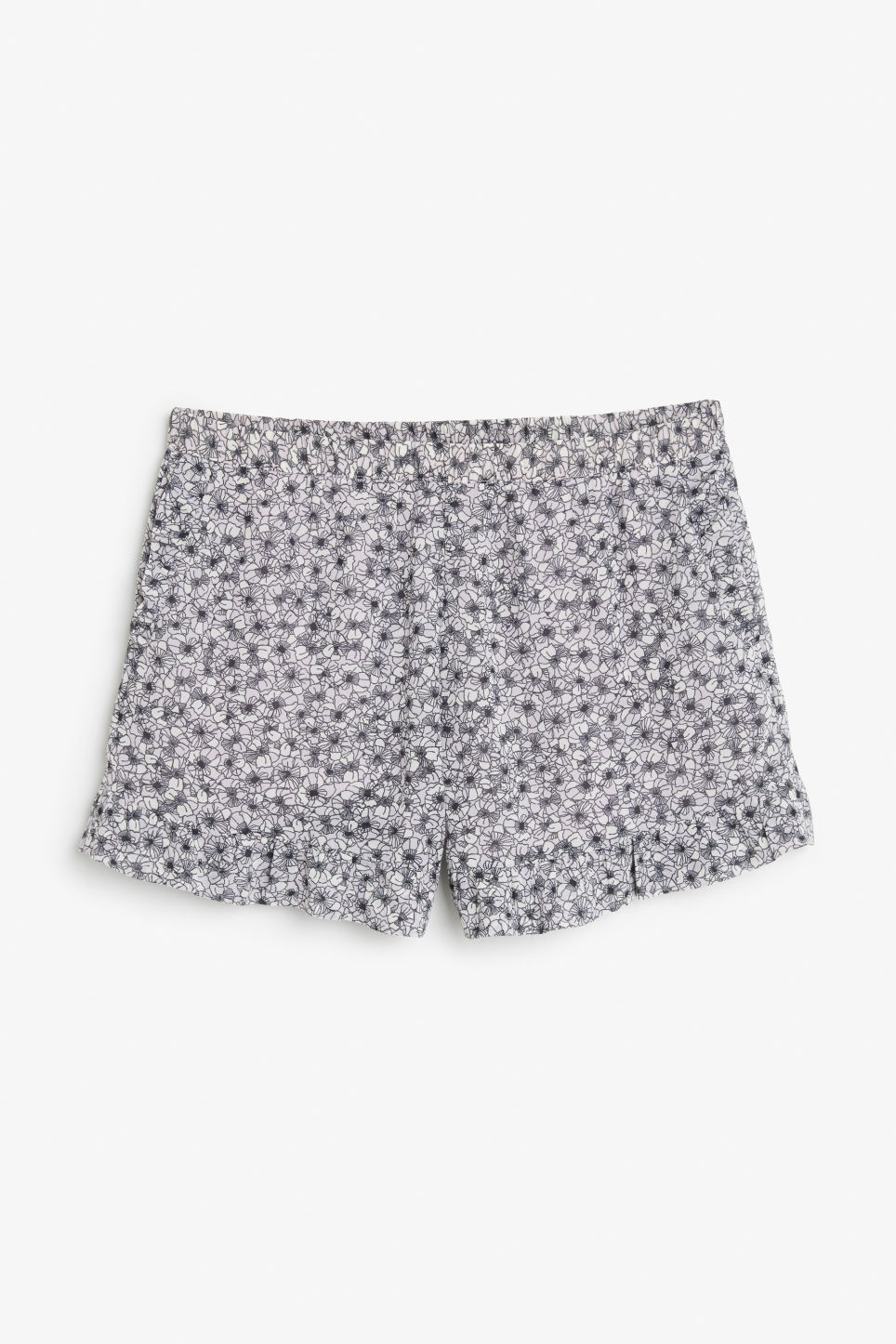 Front image of Monki soft ruffled shorts in purple