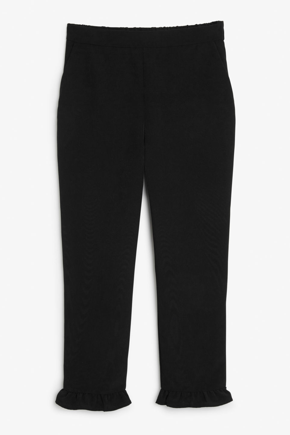 Front image of Monki frill hem trousers in black
