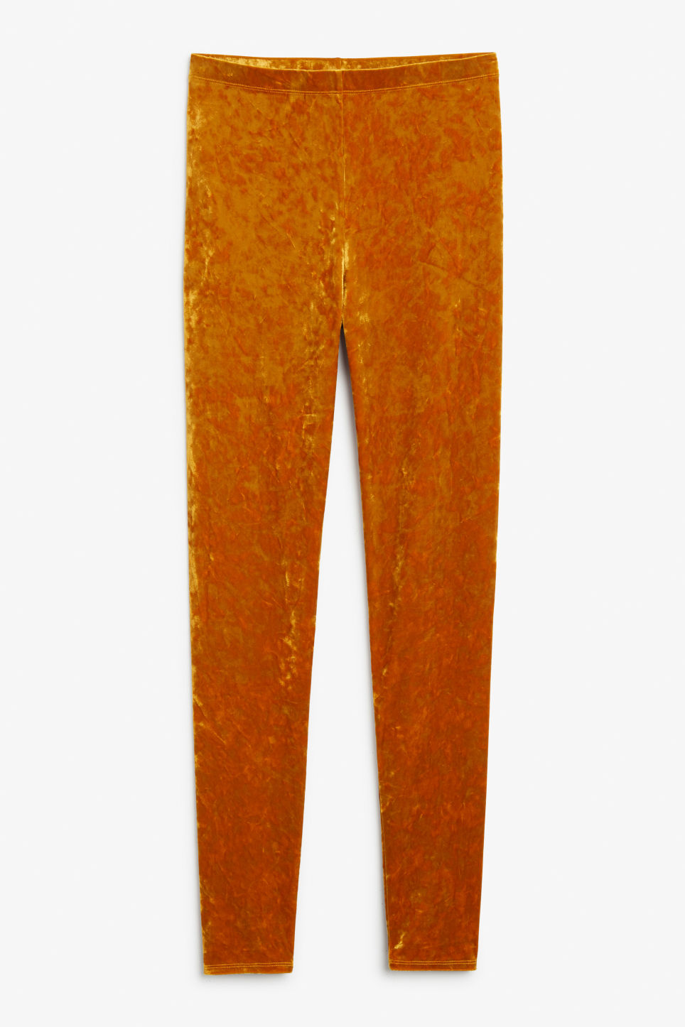 Front image of Monki velvet leggings in orange