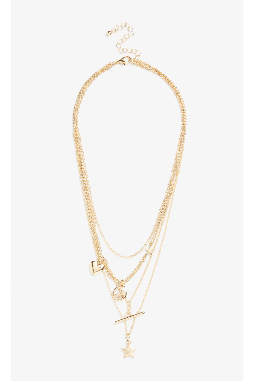 Front image of Monki multi-chain charm necklace in gold