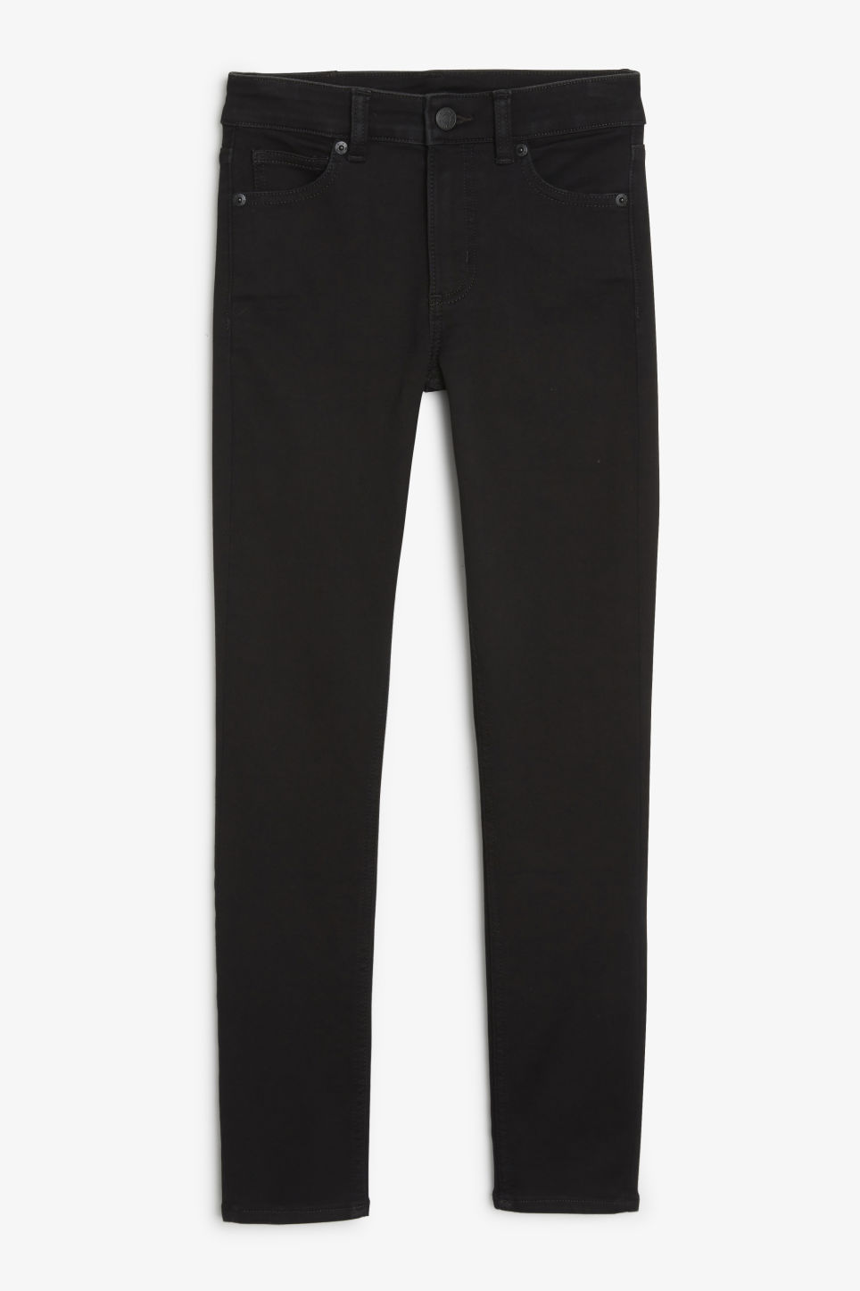 Front image of Monki mocki cropped black deluxe in black